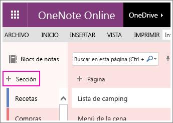 Captura de pantalla que muestra cómo crear una sección en OneNote Online.