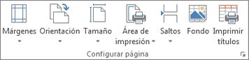 Grupo Configurar página de la pestaña Diseño de página