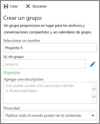 Captura de pantalla en la que se escribe un nombre y se hace clic en Crear para crear un grupo de OneDrive para la Empresa