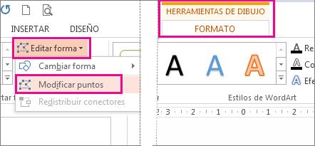 Comando Modificar puntos al que se accede desde Editar forma en la pestaña Formato de Herramientas de dibujo