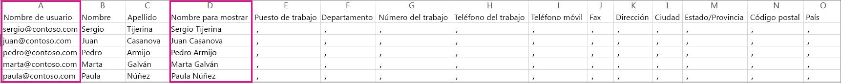 Ejemplo de archivo CVS con filas en blanco especificadas