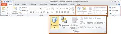 Ficha Inicio en PowerPoint 2010 mostrando el grupo Dibujo.