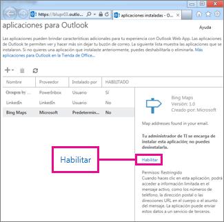 Habilitar una aplicación para Outlook