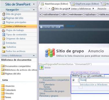 Crear una vista en Microsoft SharePoint Designer 2010