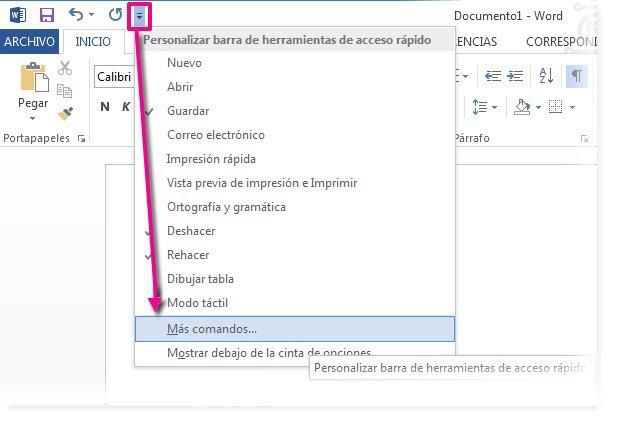 Personalizar la barra de herramientas de acceso rápido haciendo clic en Más comandos