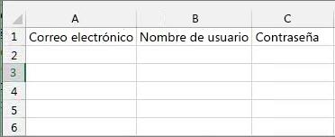 Títulos de celda en el archivo de migración de Excel.