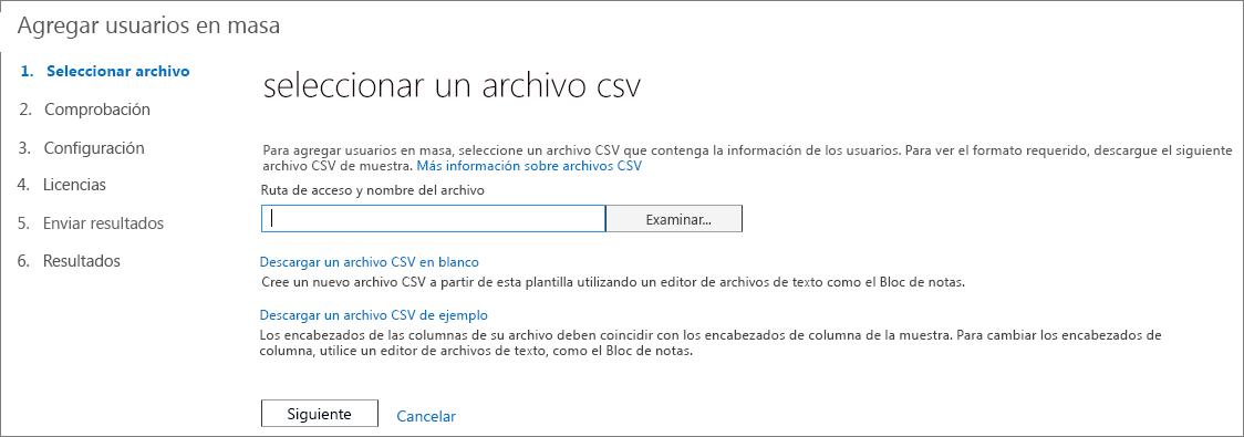 Paso 1 del asistente para Agregar usuarios en masa - Seleccionar archivo CSV