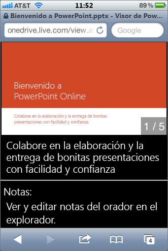 Diapositivas y notas del orador en el Visor de PowerPointMobile