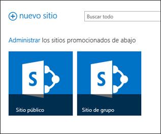 Página de sitios de Office 365, con los mosaicos Sitio de grupo y Sitio web público