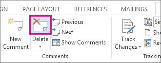 Botón Eliminar comentario en la cinta