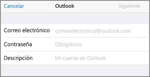 Agregar dirección de correo electrónico y contraseña