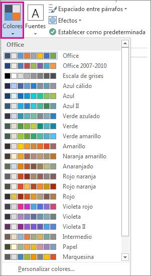 Galería de colores del tema