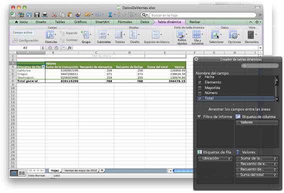 Libro de Excel que muestra la nueva interfaz de tabla dinámica