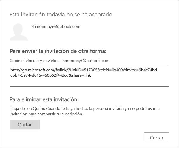 Captura de pantalla del cuadro de diálogo para una invitación pendiente con un vínculo para enviar por correo electrónico y un botón para quitar la invitación.