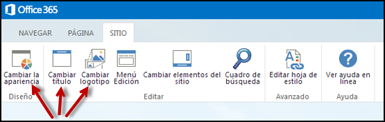 Cinta de opciones de la pestaña Sitio del sitio web público, con los botones Cambiar la apariencia, Editar título y Cambiar Logotipo