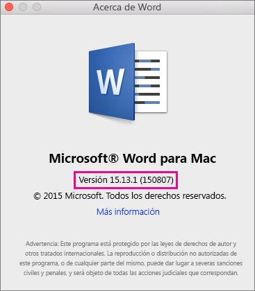 Word 2016 para Mac mostrando la página Acerca de Word