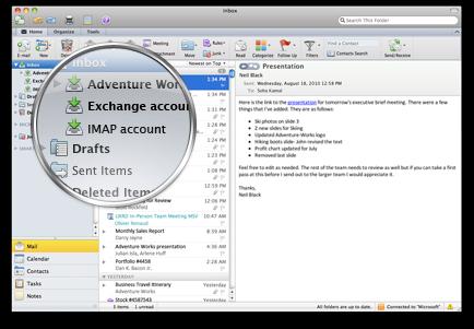 Outlook con varias cuentas en una sola bandeja de entrada