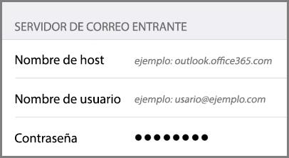 Configuración del servidor de correo entrante