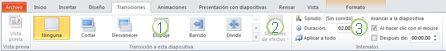 La ficha Transiciones en la cinta de PowerPoint2010.