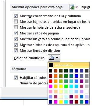 Configuración del color de cuadrícula en el cuadro de diálogo Opciones de Excel