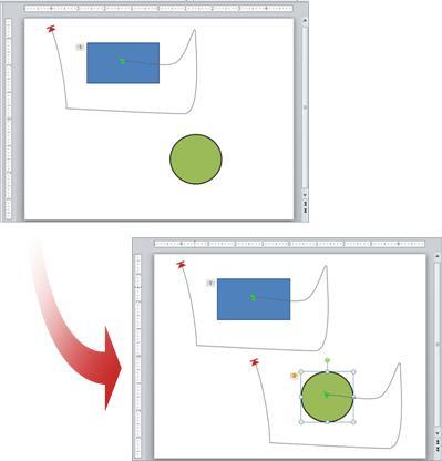 Ejemplo que muestra una animación copiada de un objeto a otro