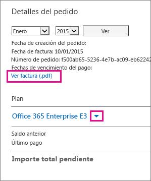 """Seleccione """"Ver factura (.pdf)"""" para descargar un archivo PDF de la factura."""
