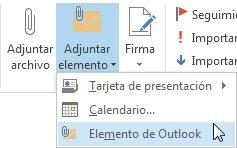 Comando Adjuntar elemento de Outlook en la cinta