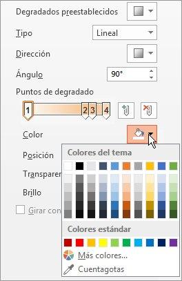 Cambiar el color de cada punto de degradado