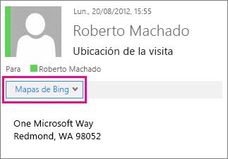 Mensaje de Outlook que muestra la aplicación Mapas de Bing
