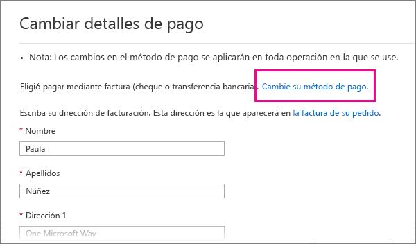 Página Detalles de pago con el vínculo Cambiar método de pago resaltado.