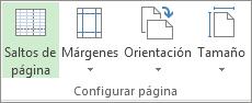 Grupo Configurar página en la pestaña Diseño de herramientas del informe