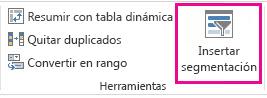 Botón Insertar Segmentación de datos de la pestaña Diseño de las Herramientas de tabla