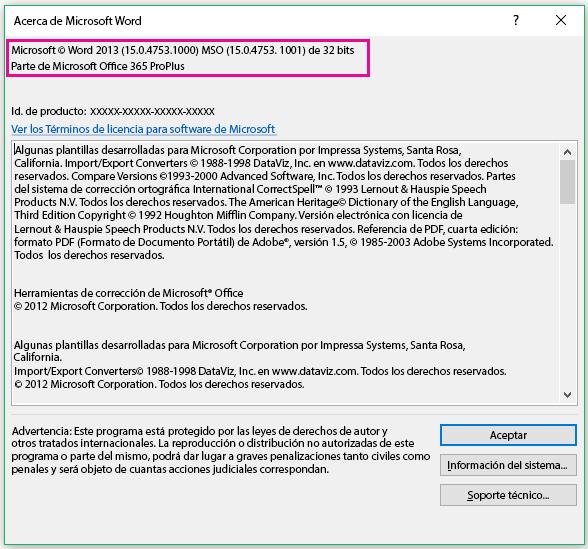 Ventana Acerca de Microsoft Word