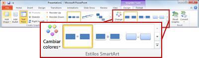 La pestaña Diseño en Herramientas de SmartArt