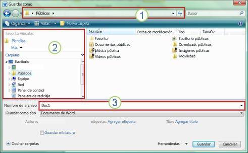 Cuadro de diálogo Guardar como de Windows Vista y Windows 7