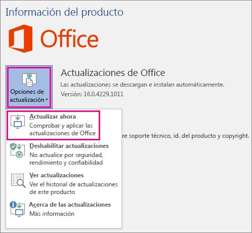 Buscando actualizaciones para Office de forma manual en Word 2016
