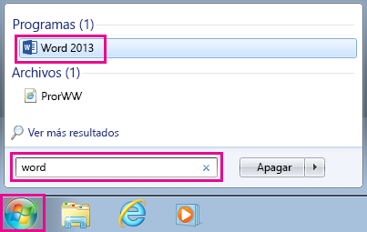 Buscar aplicaciones de Office en Windows 7