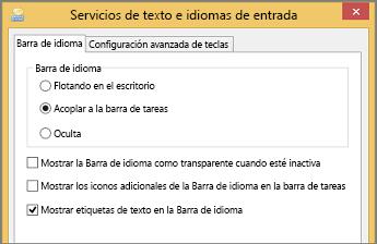 Servicios de texto e idiomas de entrada de Office 2016 en Windows 8