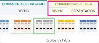 Grupo Estilos de tabla en la pestaña Herramientas de tabla | Diseño