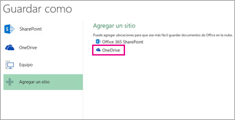 Opción Guardar en OneDrive