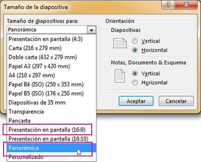 Pantalla panorámica o Mostrar en pantalla 16:9