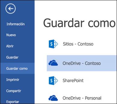 Carpeta de OneDrive para la Empresa durante la operación de abrir o guardar archivo