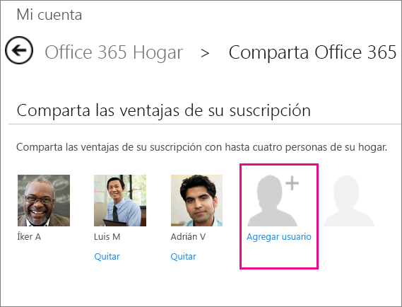 """Captura de pantalla de la página Compartir Office365 con la opción """"Agregar usuario"""" seleccionada."""