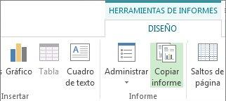 Botón Copiar informe en la pestaña Herramientas de informe | Diseño