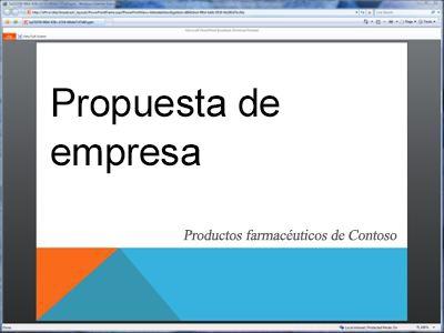 Una presentación con diapositivas difundida, como se muestra en el explorador