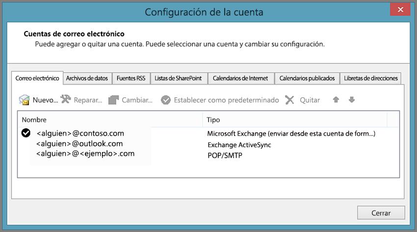 Ver el tipo de cuenta que tiene en la ventana Configuración de la cuenta en Outlook