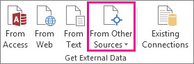 Botón Desde otros orígenes en la pestaña Datos