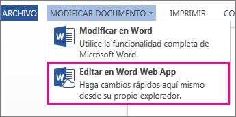 Imagen de comando Editar en Word Online