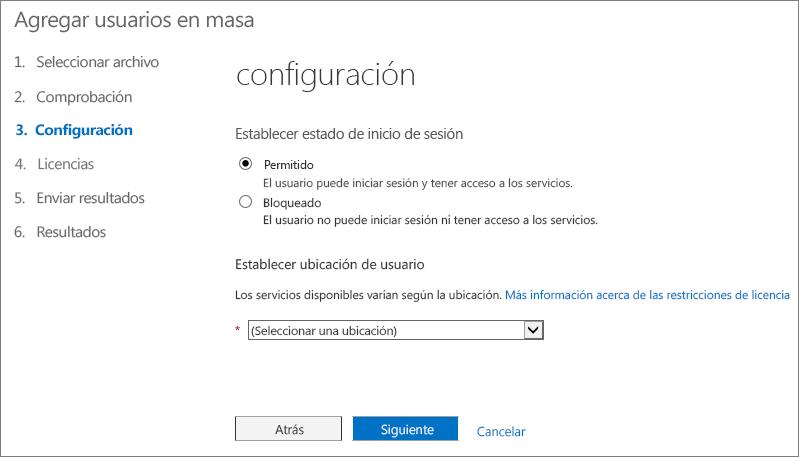 Paso 3 del asistente para Agregar usuarios en masa - Configuración