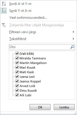 PivotChart-liigenddiagrammi filtreerimis- ja sortimissuvandid